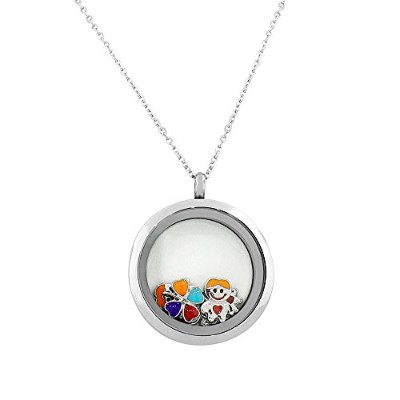EDFORCE Stainless Steel Silver-Tone Floating Charms Kids Clover Glass Locket Pendant Necklace -...