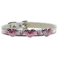Mirage Pet Products 1 and 3 Heart Silver Pet Collars with Pink Hearts, 3 Hearts, Size 10 [並行輸入品]