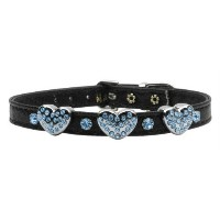 Mirage Pet Products 1 and 3 Heart Black Pet Collars with Turquoise Hearts, 3 Hearts, Size 16 [並行輸入品]