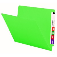 Colored File Folders, Straight Cut, Reinforced End Tab, Letter, Green, 100/Box (並行輸入品)