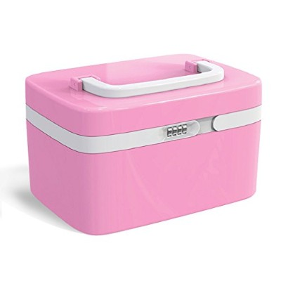 (Pink) - Makeup Organiser, FINE DRAGON Professional Girly Make Up Cosmetic Jewellery Train Case...