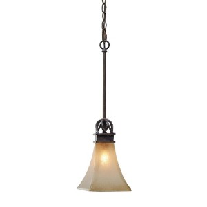 Golden Lighting 1850-M1L RT 6-Inch W by 47.25-Inch H Origins Mini Pendant, Roan Timber Finish by...