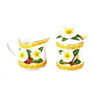 Kole ol758セラミックMagnolia Creamer and Sugar Jar Set , Regular