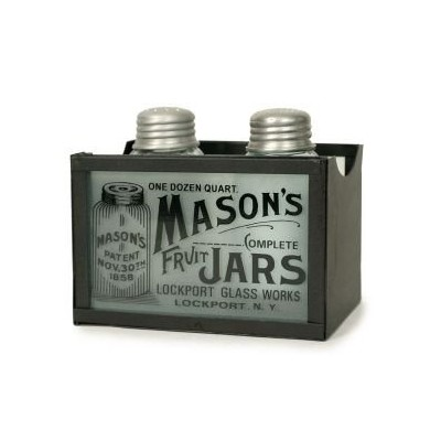 Mason's Jars Salt and Pepper Shakers with Caddy in Rustic Brown by Colonial Tin
