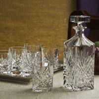 DUBLIN CRYSTAL 8 PIECE WHISKEY SET - Includes One Decanter, 6 DOF Glasses, and one Silver Plated...