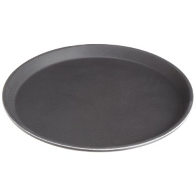 Stanton Trading Non Skid Rubber Lined 14-Inch Plastic Round Economy Serving Tray, Black by Stanton...