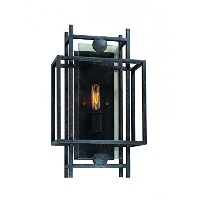 Troy Lighting Crosby 1-Light Wall Sconce - French Iron Finish with Topaz Glass by Troy