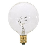Satco S3823 120V Candelabra Base 40-Watt G16.5 Light Bulb, Clear by Satco