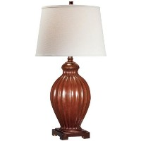 Lite Source LSF-21828 Colletta Table Lamp, Brushed Brown, Off-White Fabric Shade by Lite Source