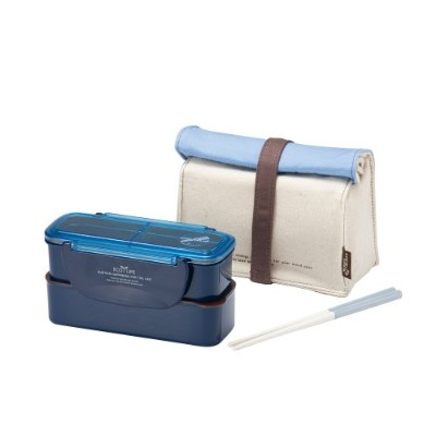 Lock & Lock Slim Lunch Box with EcoBag and BPA Free Containers with Leak Proof Locking Lids, Blue...