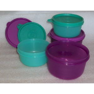 Tupperware 7オンスと14oz Snack Serving Bowls、4のセットパープルand Teal