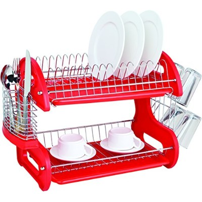 HDS TRADING CORP DD10248 DISH DRAINER 2TIER PLASTIC RED -RED
