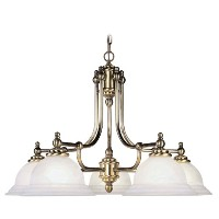 Livex Lighting 4255-01 North Port 5 Light Antique Brass Chandelier with White Alabaster Glass by...