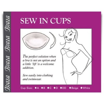 Braza Bust Enhancer Sew in Cups - Beige - Size A by Braza