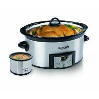 crock-pot 6クォートカウントダウンProgrammable Oval Slow Cooker with Dipper、ステンレススチール、sccpvc605-s