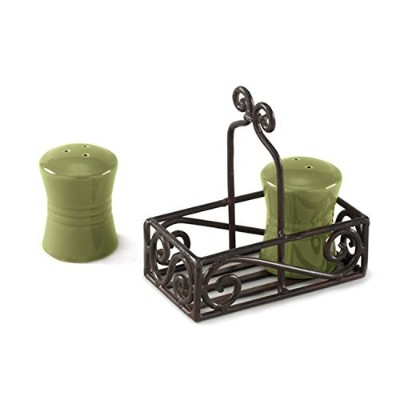 Black Village Scroll Salt and Pepper Caddy by Park Designs