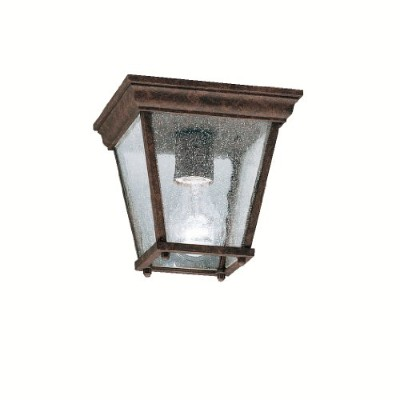 Kichler Lighting 9859TZ New Street 1-Light Outdoor Flush Mount with Clear Seedy Glass, Tannery...