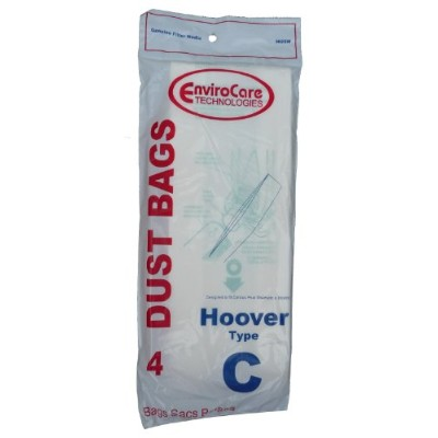 4 Hoover Type C Vacuum Bags for Convertible Upright, Bottom Fill Convertible, Lightweight, O/S Vacuum Cleaners, 43651-050, 43651050, 4010003C, 4010077C, 1340, 1350, 1351, 13560, 1370, 1372, 13290, 1391, 2552, 2552B, 2650, 2651