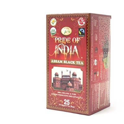 Pride Of India - Organic Bagged Tea Boxes (Organic Assam Breakfast Black Tea, 1-Pack (25 Tea Bags))...