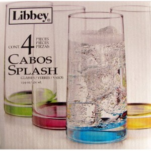 Libbey 4 Piece Glass Set 15.9 Oz Each Cabos Splash Multi-color Blue Purple Yellow Green by Libbey