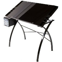 Martin Dezign Line Drawing Table W/Black Glass Top-Black (並行輸入品)