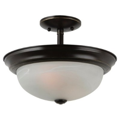 Sea Gull Lighting 77950-782 Convertible Semi-Flush/Pendant with AlabasterGlass Shades, Heirloom...