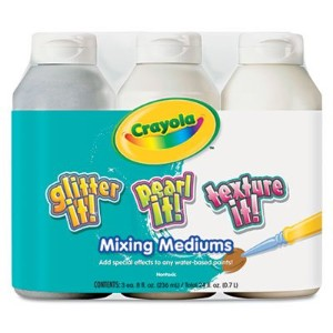 3 Pack Glitter It! Pearl It! Texture It! Tempera Mixing Mediums, 3 per Set by Crayola. (Catalog...