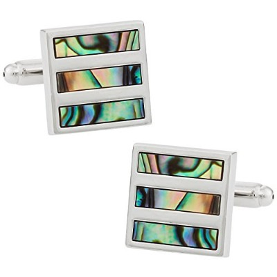 Cuff - Daddy Abalone Shell Silver Cufflinks withプレゼンテーションボックス