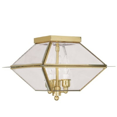 Livex Lighting 2185-02 Westover 3-Light Outdoor/Indoor Ceiling Mount, Polished Brass by Livex...