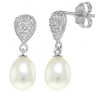 K14 White Gold Dangle Earrings with Cultured Pearls & Diamonds