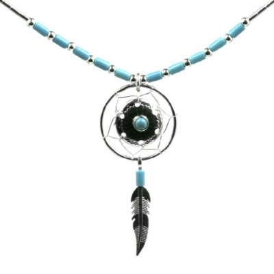 Dream Catcher Turquoise New Age Necklace Sterling Silver, 18