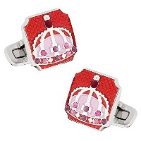 Cuff - Daddy Royal Crown Cufflinks in Red withプレゼンテーションボックス