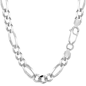 14k White Gold Classic Figaro Chain Necklace, 6.0mm, 20""