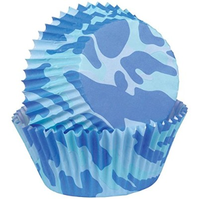 Wilton Standard Baking Cups, Blue Camo, 75-Pack 031380