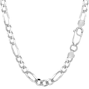 14k White Gold Classic Figaro Chain Necklace, 5.0mm, 24""