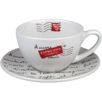 Konitz Coffee Bar Amore Mio No.4 Cappuccino Cups/Saucers, Set of 4 by Konitz