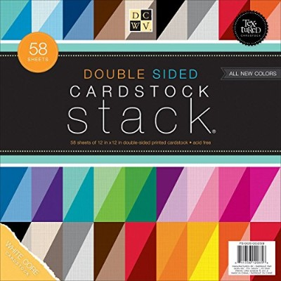 "Cardstock Stack Double-Sided 12""X12"" 58/Pkg-Textured Solids W/White Core (並行輸入品)"