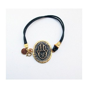 【iluck】 セレブ愛用 Leather cord bracelet with hamsa medallion (MIA) [ジュエリー]