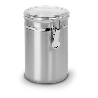 Anchor Hocking 63-Ounce Round Clamp Stainless Steel Canister with Clear Lid, Set of 4 by Anchor...