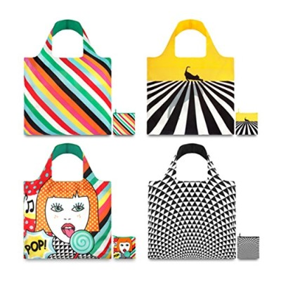 LOQI Pop Collection Pouch Reusable Bags, Multicolored, Set of 4 by LOQI