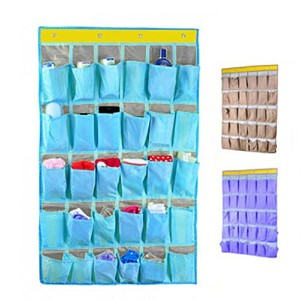 30 Pockets Durable Oxford Fabric Dorm Room Over Wall Door Closet System Organizer Shoes Hanging...