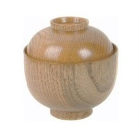 1 X Wooden Rice Miso Soup Bowl with Lid 45-35 by Thunder Group
