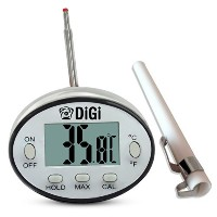 Digital Meat Thermometer with Instant Read - Thin Stainless Steel Probe for Cooking and Grilling...