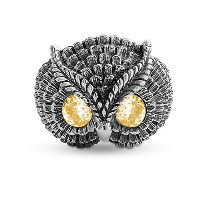 925 Sterling Silver Owl Ring With Yellow CZ Eyes (9.5)