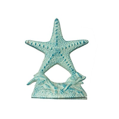 Rustic Cast Iron White and Blue Starfish Doorstop 10 - Decorative Nautical Doorstop by Moby Dick