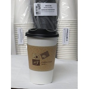 12 Oz. White Hot Coffee Cup With Lid And Sleeve-Decony coffe set- 50 sets by Decony