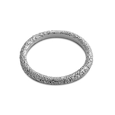 925 Sterling Silver Textured Stackable Ring Band (6.5)