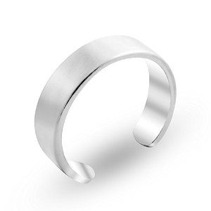 925 Sterling Silver Shiny Flat Toe Ring 3.8mm Band (Resizable)