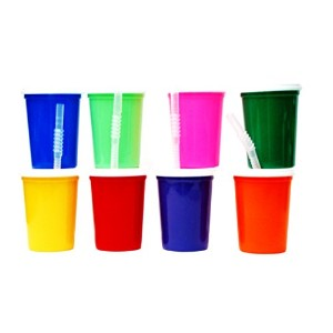 Talisman, Small Plastic Drinking Glasses, Lids and Straws, 12 Ounces, 16 Pack, Mix Colors by Jean's...