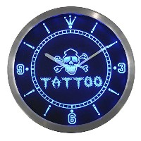 LEDネオンクロック 壁掛け時計 nc0339-b Tattoo Shop Skull Head Bar Beer Neon Sign LED Wall Clock